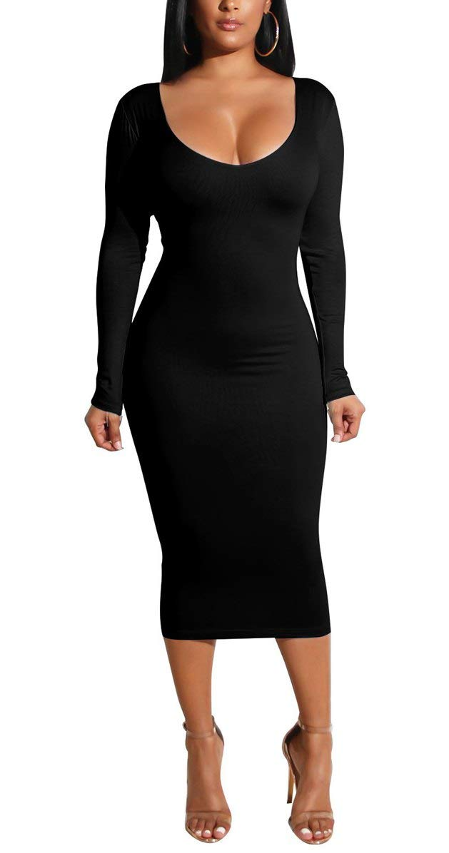 Cmprvgd Women's Long Sleeve Open Back Bodycon Party Dress