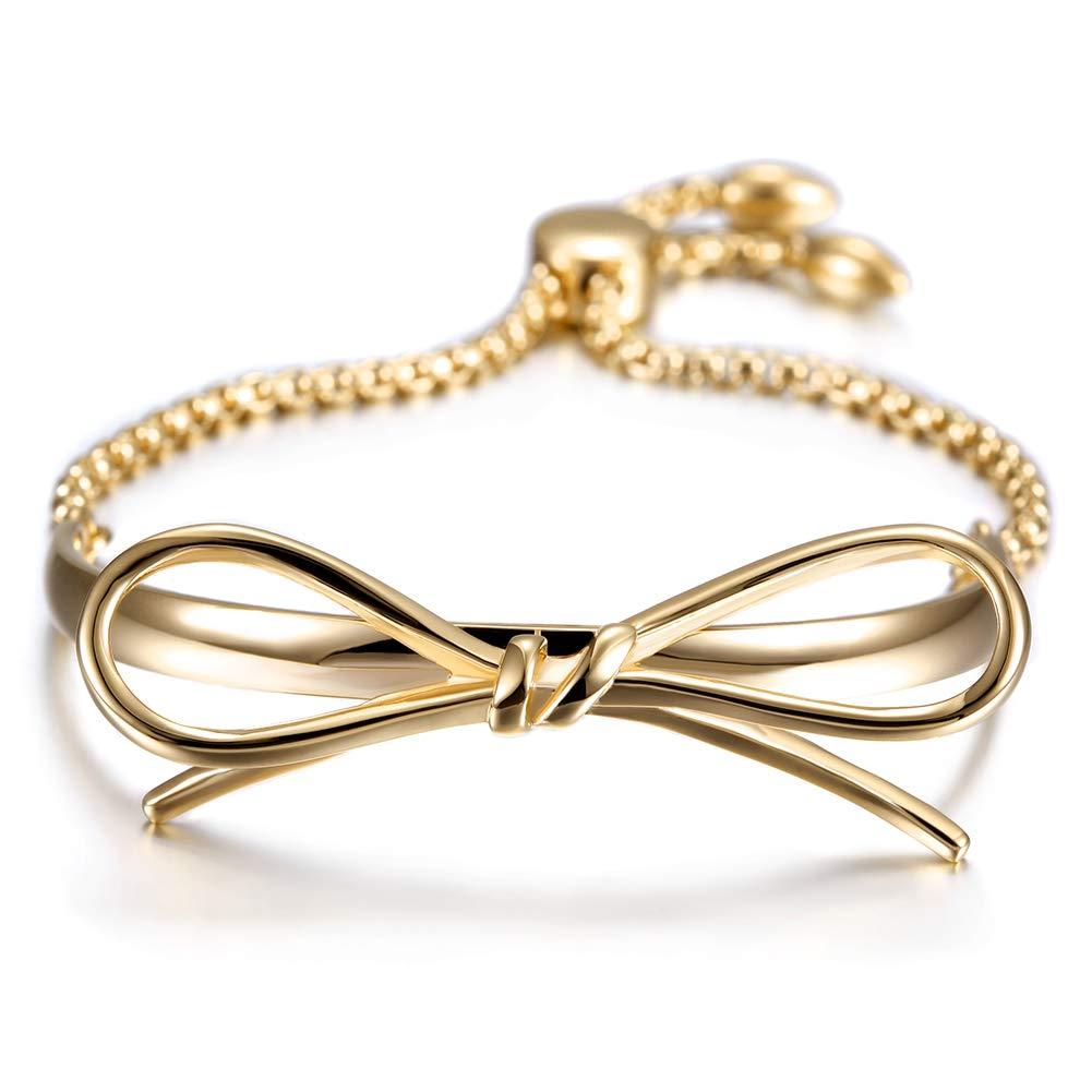 JINBAOYING Gold Bracelets Women Bow Charm Bracelets Stainless Steel Adjustable Slider Link Bracelet for Women Gift Jewlery
