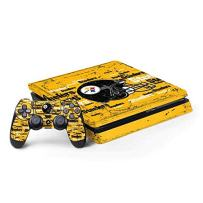 Skinit Decal Gaming Skin for PS4 Slim Bundle - Officially Licensed NFL Pittsburgh Steelers - Blast Design