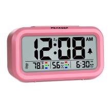 Peakeep Indoor Humidity Temperature Digital Alarm Clock for Bedrooms, Smart Night Light, Battery Operated Small Easy Desk Bedside Gifts Clock (Pink)