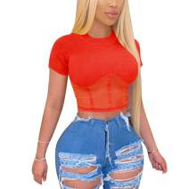 acelyn Women Cute See Throught Mesh T-Shirt Short Sleeve Hollow Out Sheer Sexy Crop Top Tee Blouse Night Club