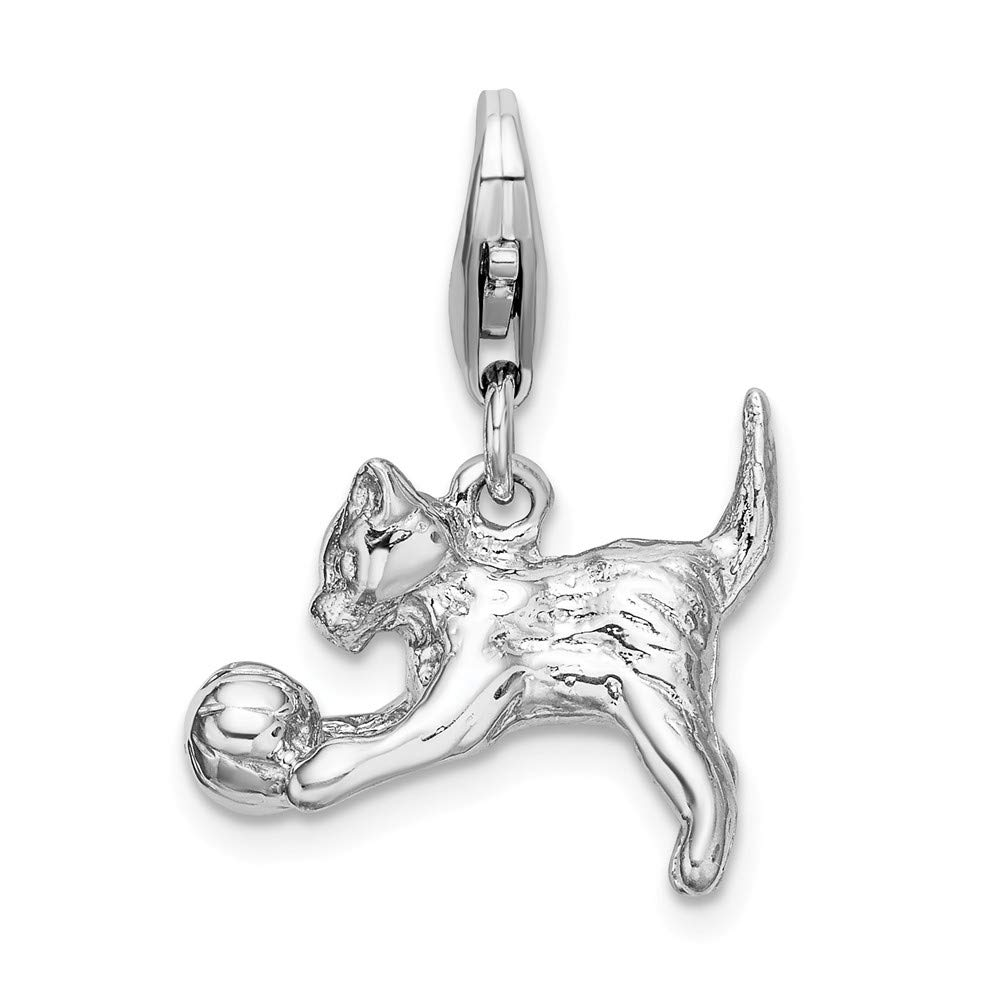 925 Sterling Silver Rh 3 D Kitten Ball Lobster Clasp Pendant Charm Necklace Baby Animal Cat Fine Mothers Day Jewelry For Women Gifts For Her