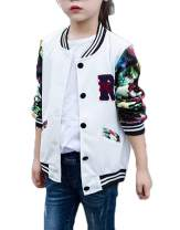 Kids Girls Floral Bomber Jacket Casual Cotton Outwear Baseball Jacket with Pockets