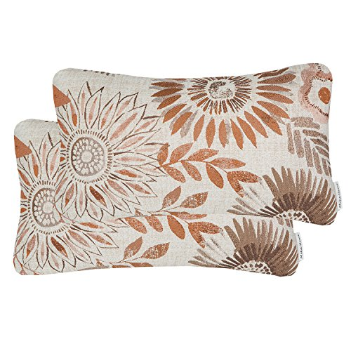 Mika Home Pack of 2 Decorative Oblong Rectangular Throw Pillow Cover Cushion Cases for Chair,Sunflower Pattern,12x20 Inches, Brown Cream
