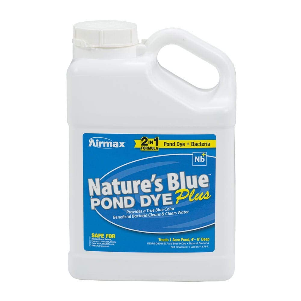 Airmax Nature's Blue Pond Dye Plus with PondClear Beneficial Bacteria, Cleans & Clears Water, Safe for The Environment - Case of 4x1 Gallon