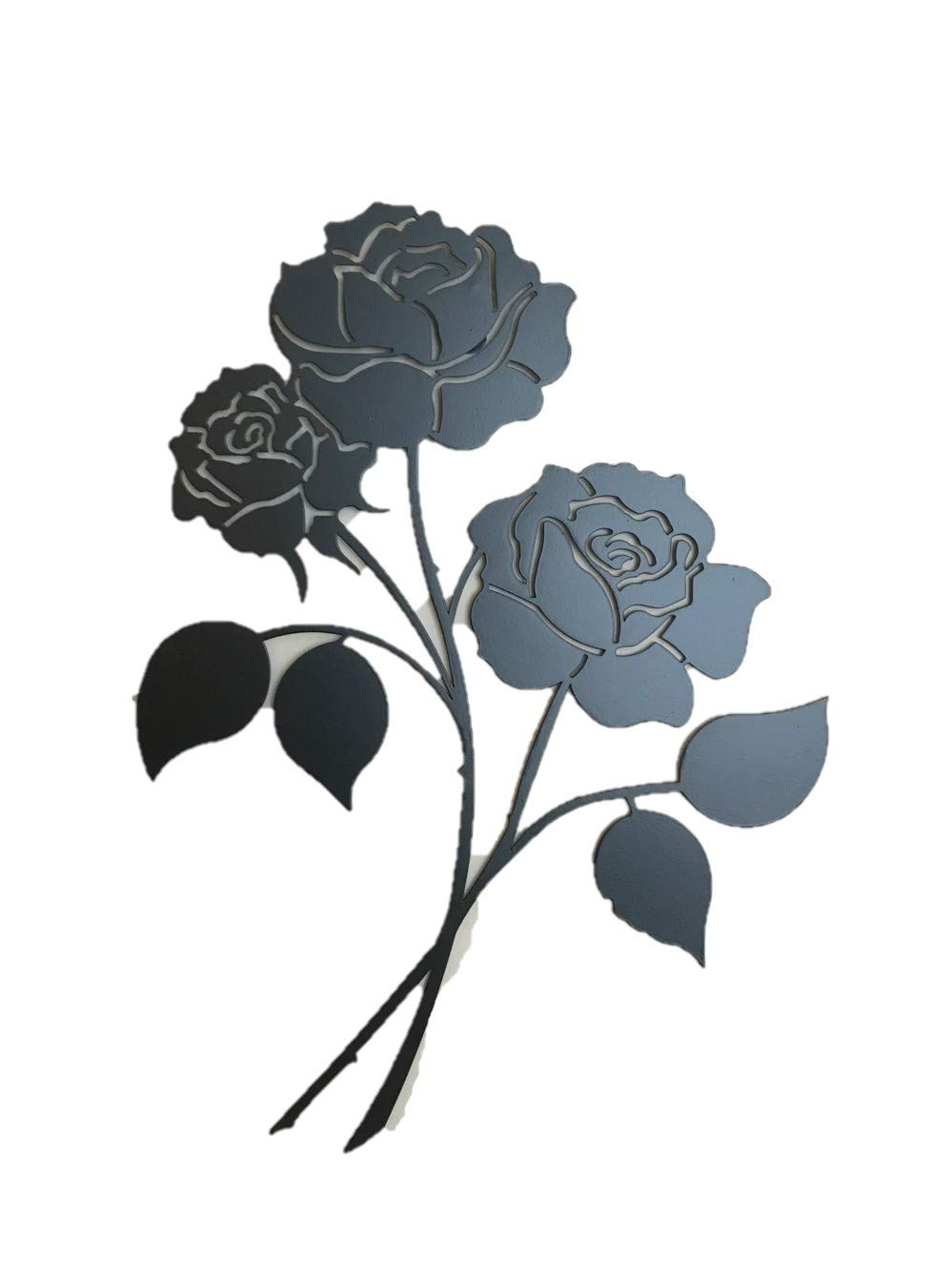 Bookishbunny Rose Flower Wrought Iron Wall Art Home Decor Flower Decoration Patio Plaque Metal Art, 2mm Thick (16 inches Triple Roses)