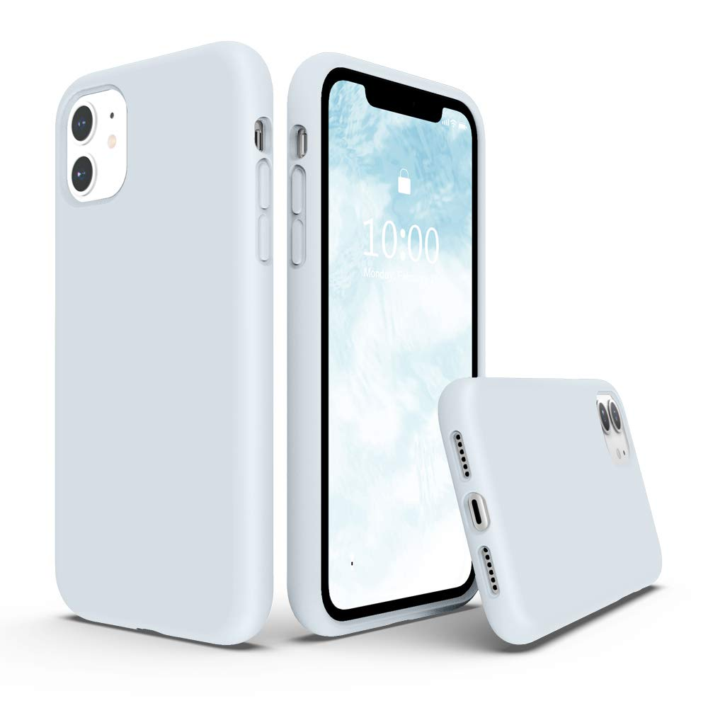 SURPHY Silicone Case Compatible with iPhone 11 Case 6.1 inch, Liquid Silicone Full Body Thickening Design Phone Case (with Microfiber Lining) for iPhone 11 6.1 2019 (Sky Blue)