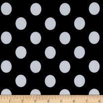 Fabric Merchants Black and White Stretch ITY Jersey Knit Dot, Yard