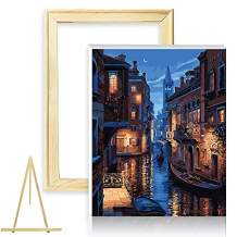 "Paint by Numbers for Adults Kits with Wooden Framed & Easel DIY Acrylic Oil Painting Kit for Adult Beginner on Canvas 16""X20"" Venice Night"