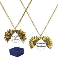 GROBRO7 2Pcs Sunflower Locket Necklace You are My Sunshine Necklace Golden Engraved Choker Memorial Necklace Valentine Secret Message Pendant Chain with Box for Girls Women Birthday Anniversary