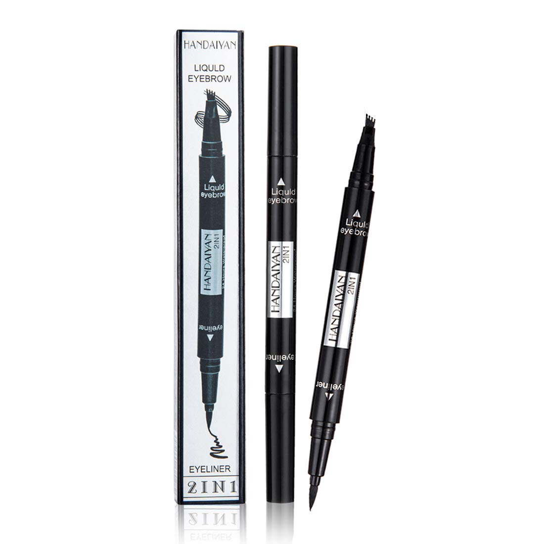 Vtrem 2 in 1 Microblade Eyebrow Pen + Eyeliner Latest Fork-tips Tattoo Eye Brow Pencil with Black Liquid Eyeliner Double-headed Waterproof Stay All Day Eyebrow Pencils and Eye Liner (#05 Black)