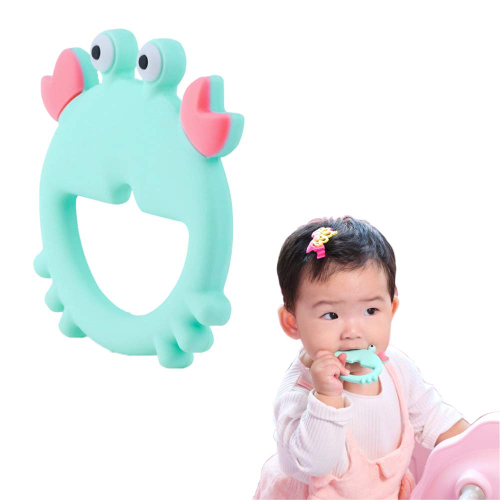 Baby Teething Toys, BPA Free Silicone Baby Chew Toys Teething Pain Relief Toy, Soft & Textured Soothing Crab Teether Toy for Infants Toddlers Newborn, Easy to Hold - Perfect
