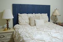 Navy Blue Headboard Full Size Weathered, Hanger Style, Handcrafted. Mounts on Wall. Easy Installation