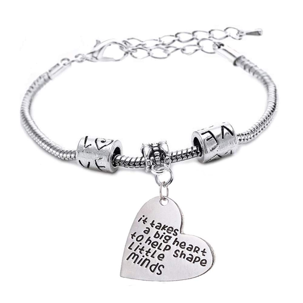 """Luvalti """"It Takes a Big Heart to Help Shape Little Minds"""" Pendant Bracelet - Inspirational Jewelry Gift - Family and Friends Jewelry"""