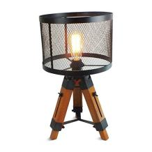 Vintage Industrial Tripod Floor Table Lamp Steampunk Cage Table Jight Rustic Metal Mesh Black Shade Nautical Lighting (Black)
