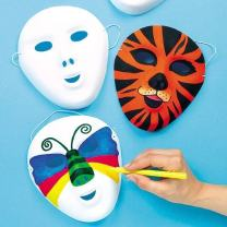 Baker Ross White Flocked Face Masks — Decorate Your Own Mask is Ideal Accessory for Halloween Costumes, Fancy Dress, Parties and More (Pack of 8)