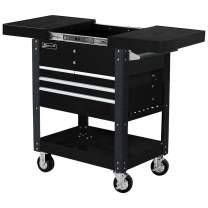 Homak 35-Inch Professional Series 4-Drawer Slide-Top Service Cart, Black, BK06043500
