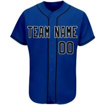 Custom Navy Baseball Jersey Personalized Mesh Design Team & Your Name and Numbers Button Down for Men/Women/Youth (S-3XL)