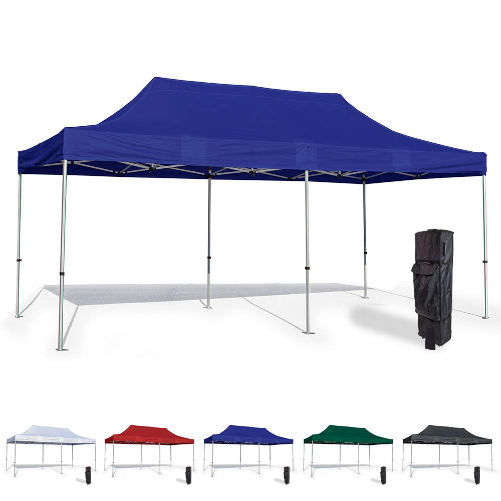 Vispronet 10x20 Pop Up Canopy Tent – Durable Aluminum Frame with Water-Resistant Polyester Fabric Top – Sturdy Wheeled Canopy Bag and Stake Kit Included (Blue)