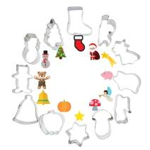 Winter Christmas Cookie Cutter Set (12 Pieces) Mini Stainless Steel Holidays Cookies Molds Favorite Holiday Shapes including Christmas tree, Christmas stocking, Santa Claus, Bell, Star