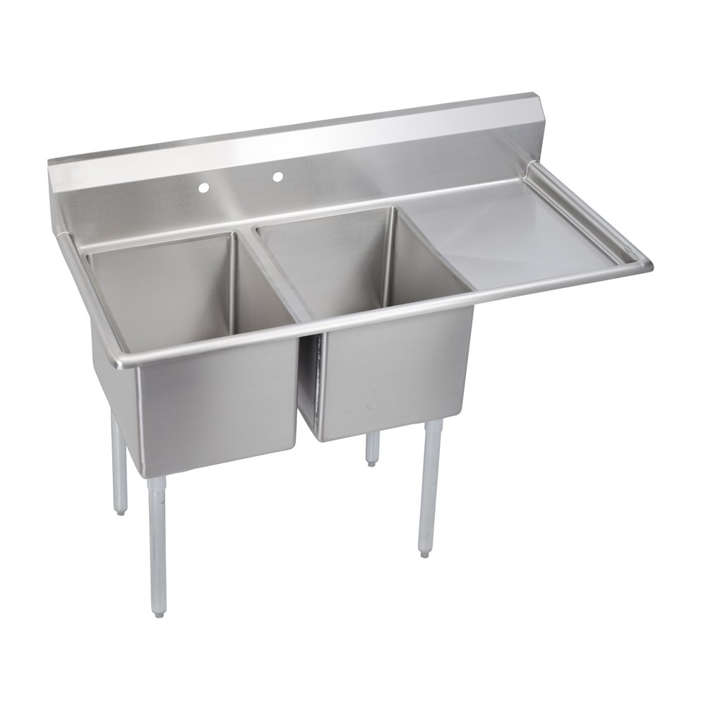 """Deluxe 2-Compartment Sink, 18"""" Right drainboard"""
