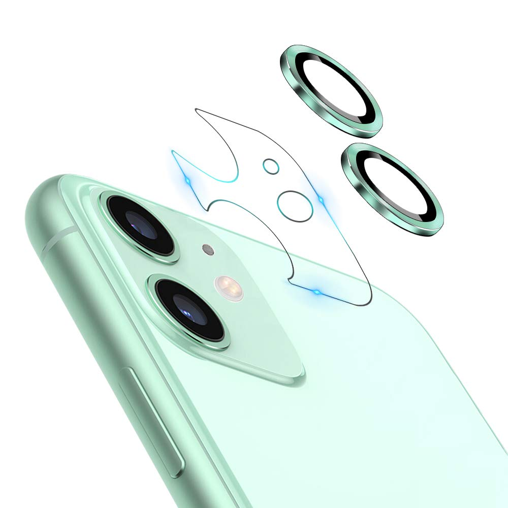 """JOLOJO Camera Lens Protector for iPhone 11(6.1""""),HD Tempered Glass Screen Protector Anti-Scratch Full Coverage Metal Cover Ring Ultra Thin/Clear - Green 2019(Set of 2)"""