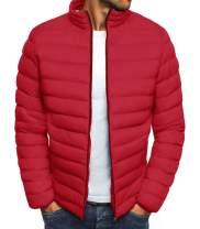 Mens Down Jackets Lightweight Winter Puffer Packable Bomber Jacket Water Resistant Classic Coat Warm Outwear Jackets