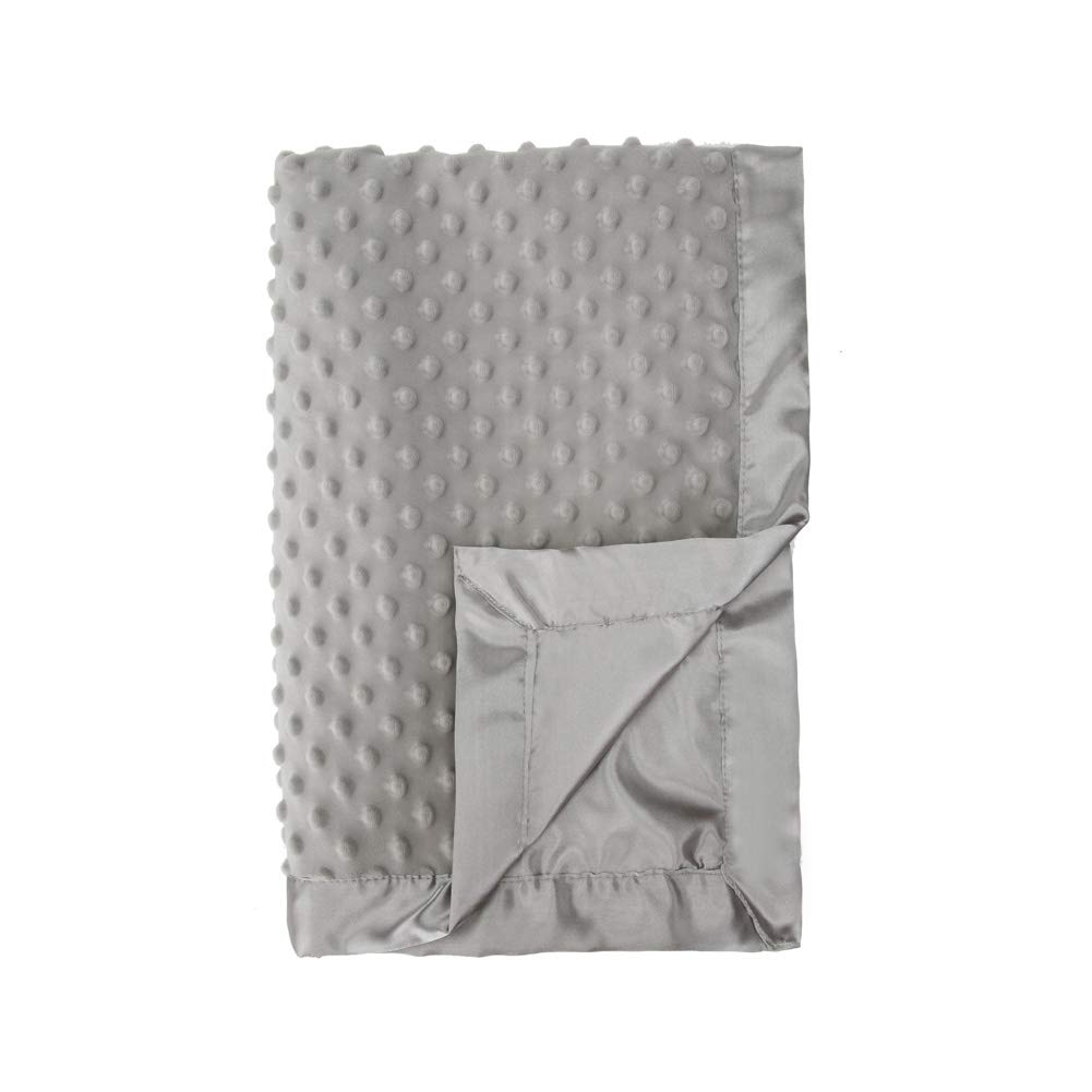 Pro Goleem Grey Baby Soft Minky Dot Blanket with Satin Backing Gifts for Girls and Boys Best for Summer (Gray, 30'' x 40'')