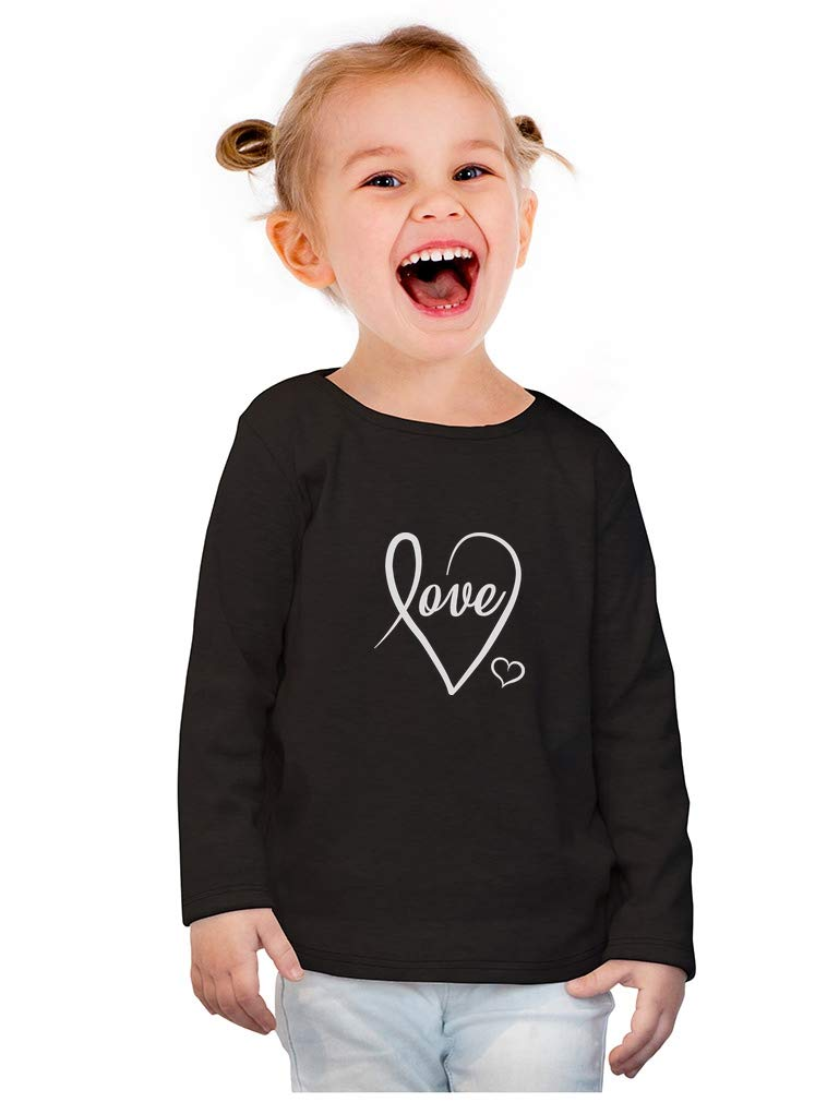 Love Cursive Heart Valentine's Day Toddler Girls Fitted Long Sleeve T-Shirt