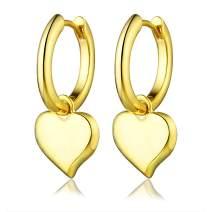 AONED Hypoallergenic Heart Dangle Hoop Earrings Sparkly Jewelry Birthday Gift for Women Teen Girls (14K Gold)