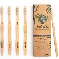 Wowe Lifestyle Natural Organic Bamboo Toothbrush Eco-Friendly Wood, Ergonomic Biodegradable Handle , Soft BPA Free Bristles, Pack of 4