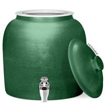Brio Polished Porcelain Ceramic Water Dispenser Crock with Faucet - LEAD FREE (Polished Dark Green)