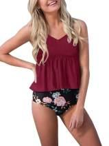Tutorutor Womens High Waisted Peplum Tankini Bathing Suits Retro Ruffle Floral Print Tummy Control 2 Piece Bikini Set