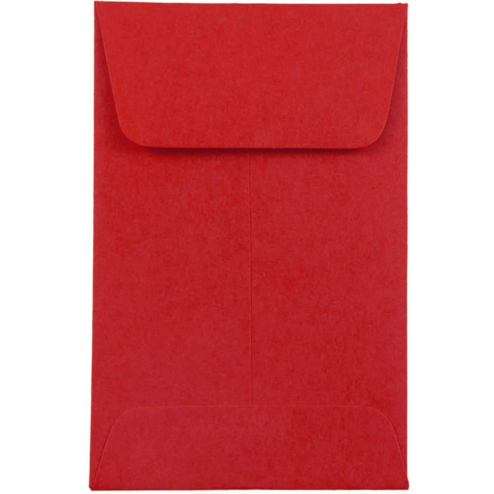 JAM PAPER #1 Coin Business Colored Envelopes - 2 1/4 x 3 1/2 - Red Recycled - 50/Pack