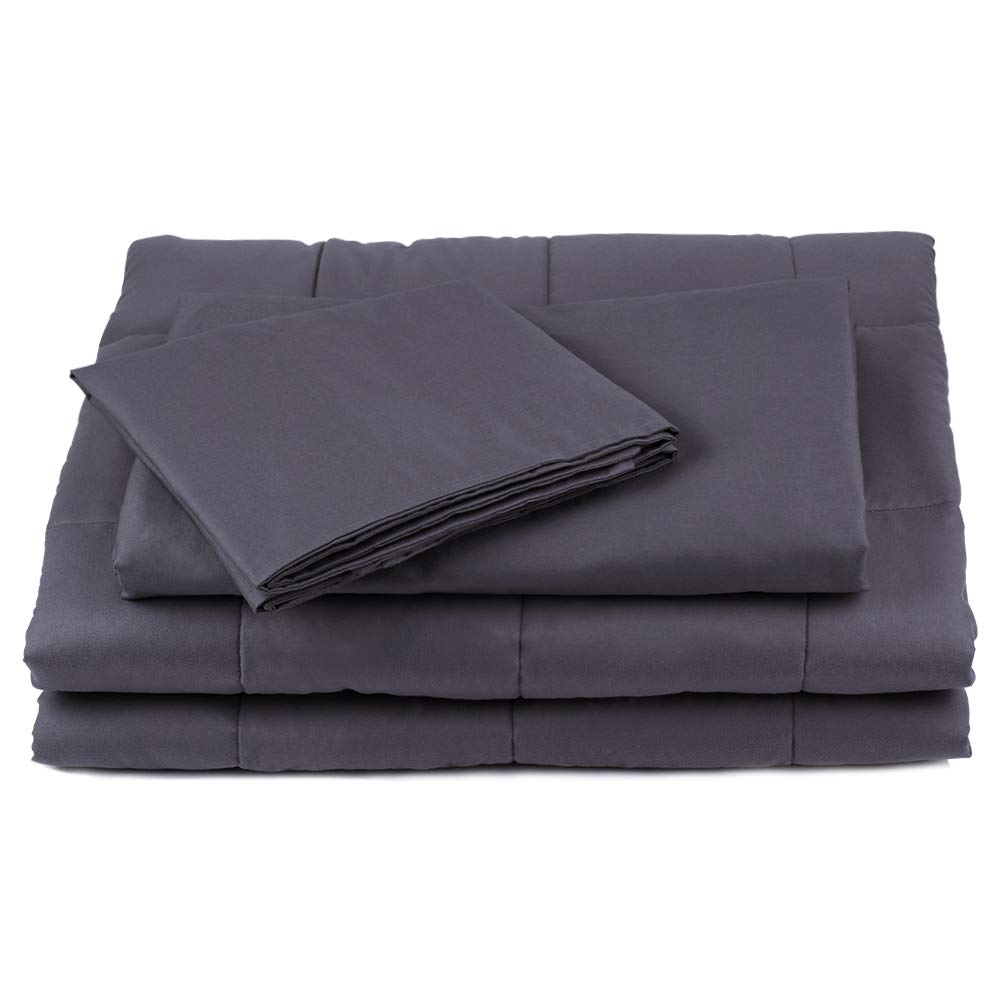JML Weighted Blanket Cover, 48x72 Duvet Cover for Weighted Blanket - 100% Cotton, 2 Shams Include - Breathable, Soft Removable Cover with 8 Tie, Grey