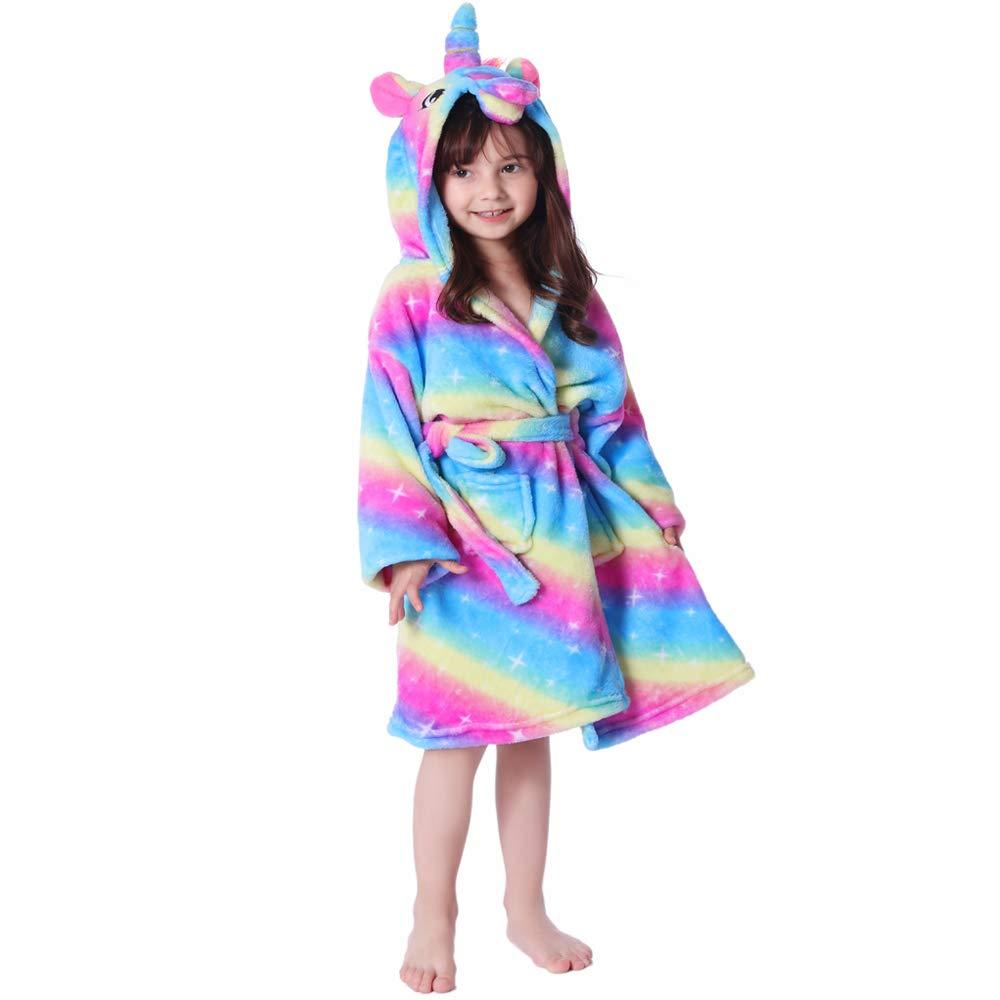 RGTOPONE Kids Soft Bathrobe Unicorn Fleece Sleepwear Comfortable Loungewear (2 Years, Rainbow and Starry Sleepwear)