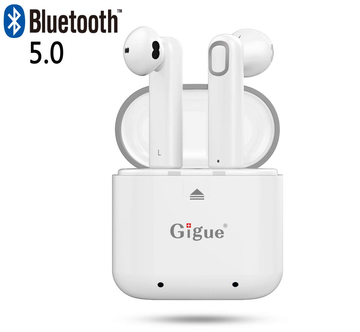 True Wireless Earbuds, Gigue Bluetooth 5.0 Earphones Portable TWS Headphone with Charging Case, Extral-Long Battery Life