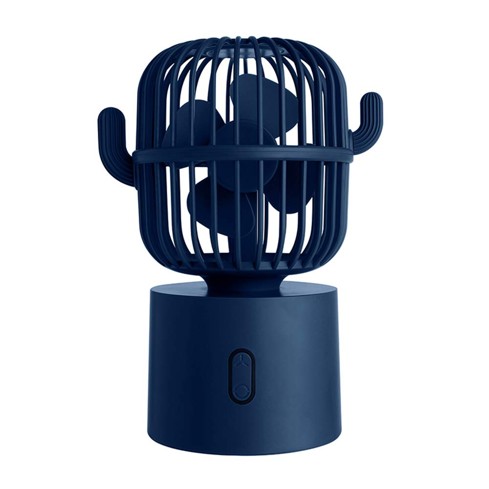 Small Desktop USB Table Desk Fan Personal Fan, Cactus Mini Handheld Rechargeable 80 Degree Auto Rotation Portable Fans, 3 Speeds Strong Wind, Quiet Operation Fan for Girls Baby Room Home Office Outdoor Travel (Blue)