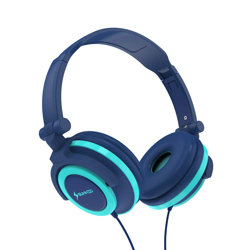 SUNNZO Kids Headphones with 85dB Volume for Limited Hearing Protection,Made of Food Grade Material,BPA-Free,Tangle-Free Cord, Wired On-Ear Headphones for Children,Toddler,Baby (Blue)
