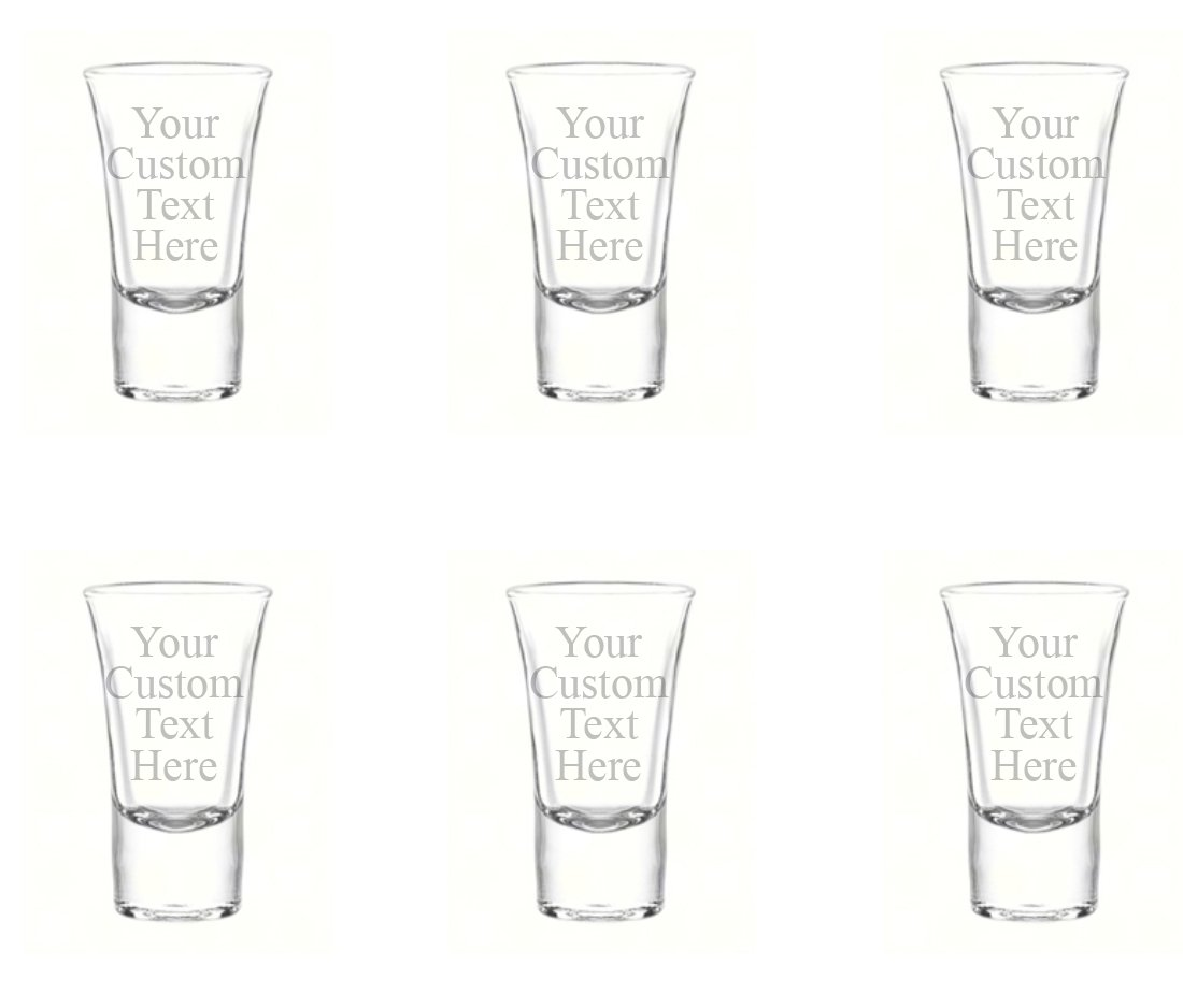 Personalized Set of 6 Custom Shot Glass Glasses (1.75oz) Free Engraving Groomsman and Bridesmaid Wedding Favor Gift For Him, For Her, For Boys, For Girls, For Husband, For Wife (Single Side Engraving)