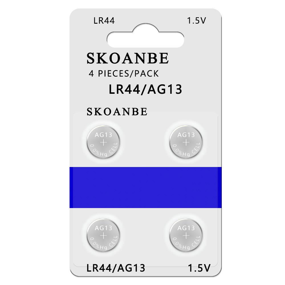SKOANBE 4PCS SR44 LR44 A76 357 303 AG13 1.5V Coin Cell Batteries