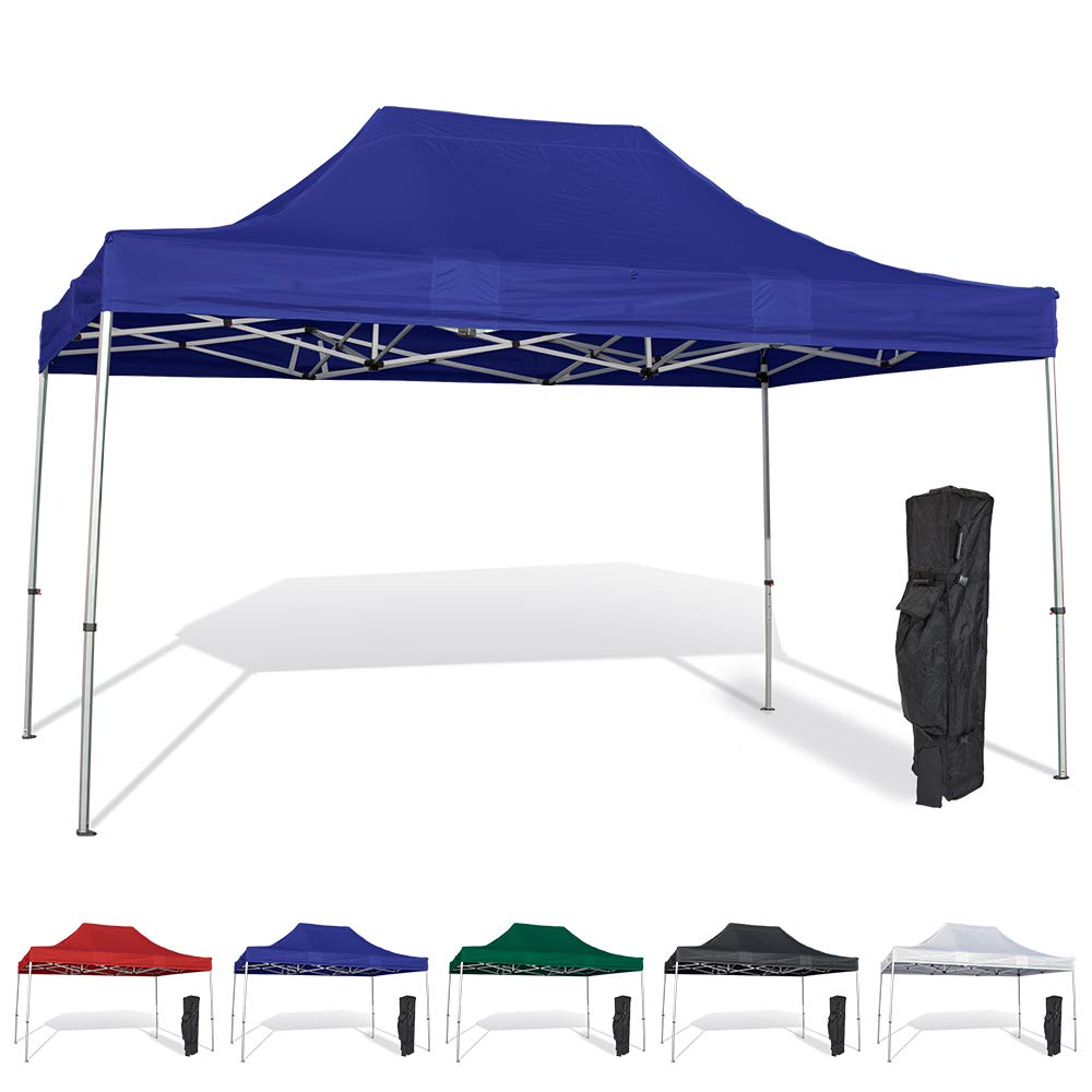 Vispronet 10x15 Instant Canopy Tent – Durable Steel Frame with Water-Resistant Polyester Fabric Top – Heavy Duty Wheeled Canopy Bag and Stake Kit Included (Blue)