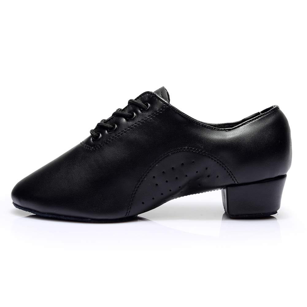HROYL Men's Standard Latin/Jazz Dance Shoes Leather lace-up Ballroom W-701