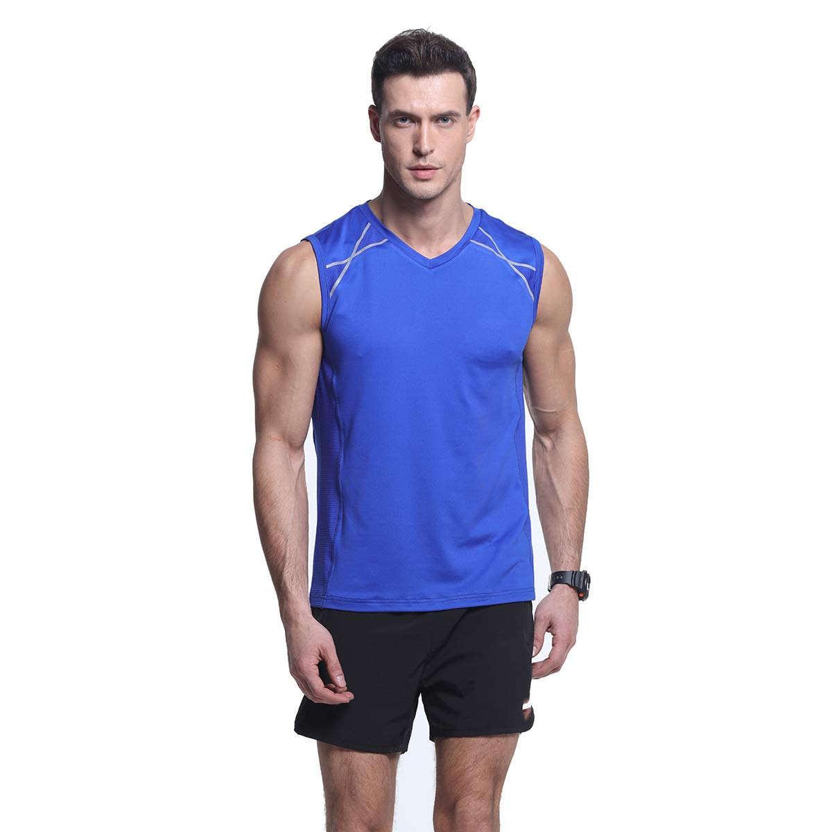 Men's Gym Outdoor Slim-Fit Sports Tank Top Quick-Dry Stretchy Workout Running Sleeveless Shirts