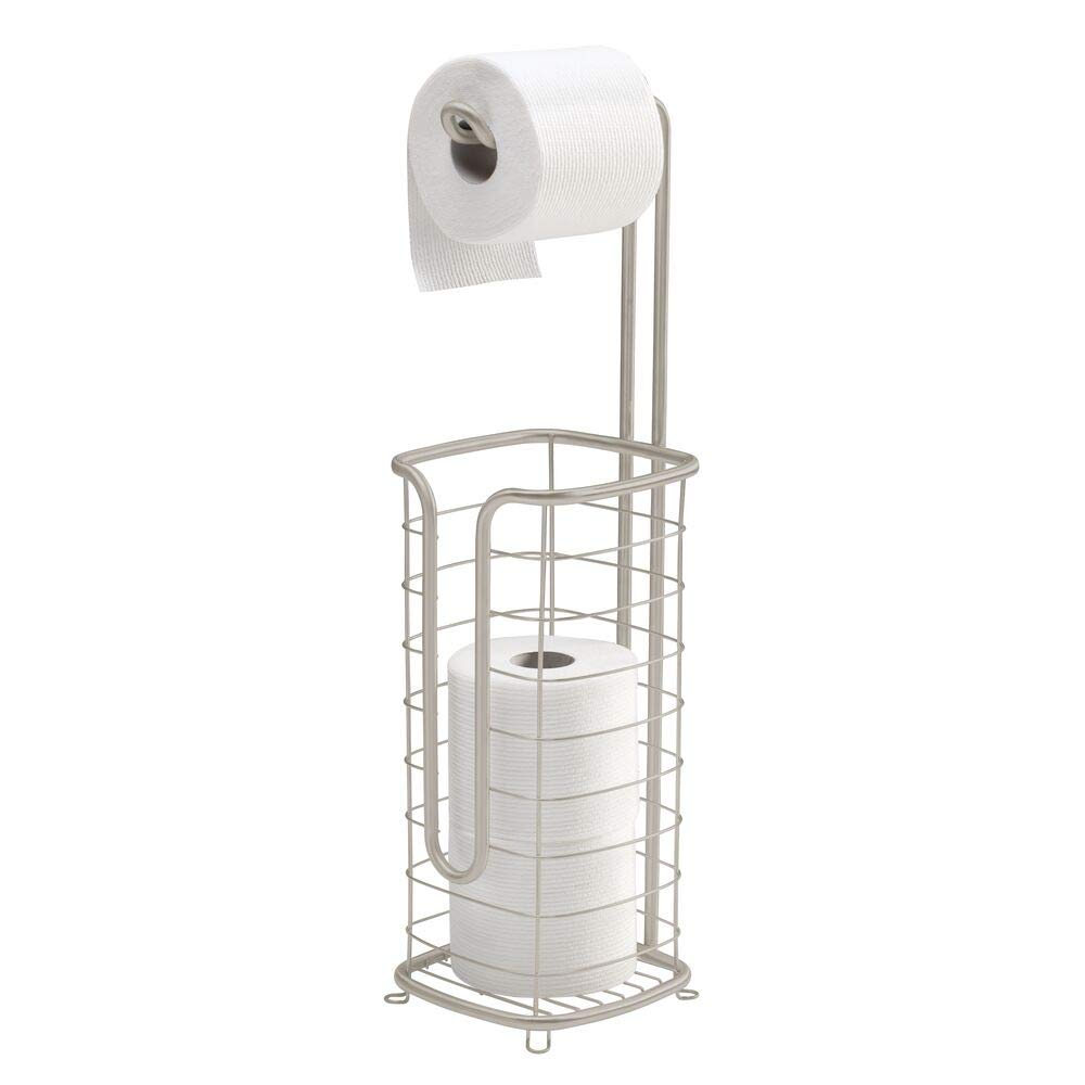 mDesign Free Standing Toilet Paper Holder Stand and Dispenser, with Storage for 3 Spare Rolls of Toilet Tissue While Dispensing 1 Roll - for Bathrooms/Powder Rooms - Holds Mega Rolls - Satin