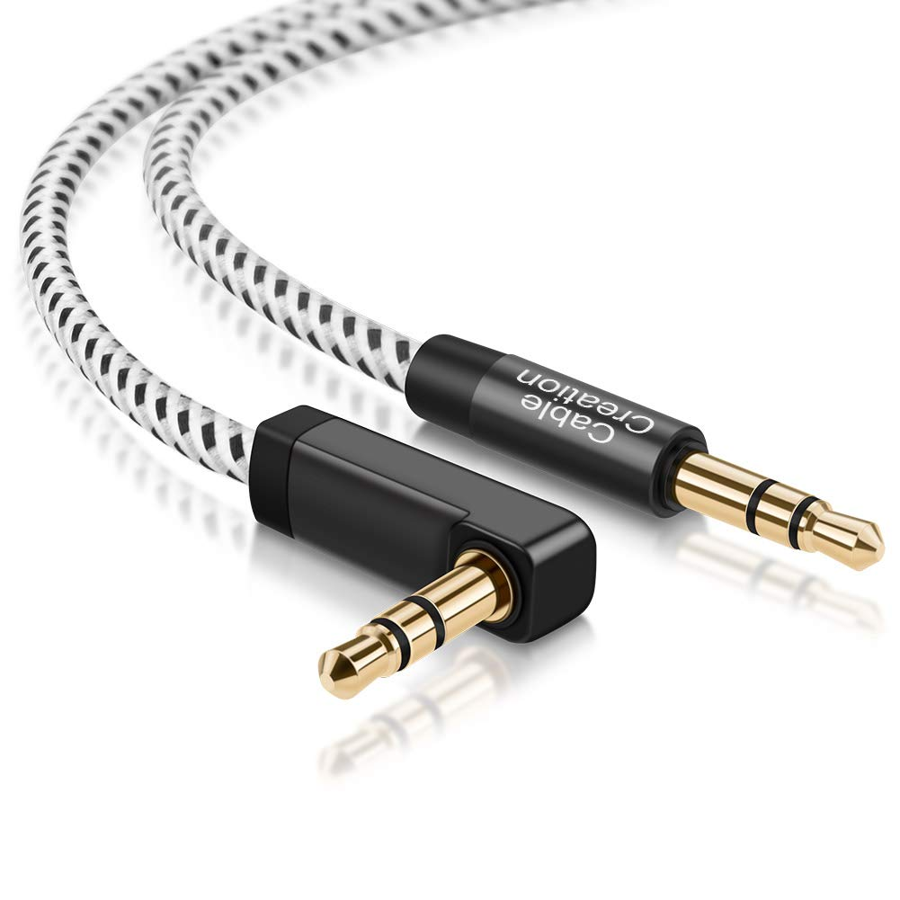 3.5mm Male to Male Aux Cable, CableCreation 3.5mm 90 Degree Right Angle Auxiliary Audio Cables, Compatible with iPhone, iPad, Smartphones, Home/Car Stereos & More, 3 Feet/0.9M