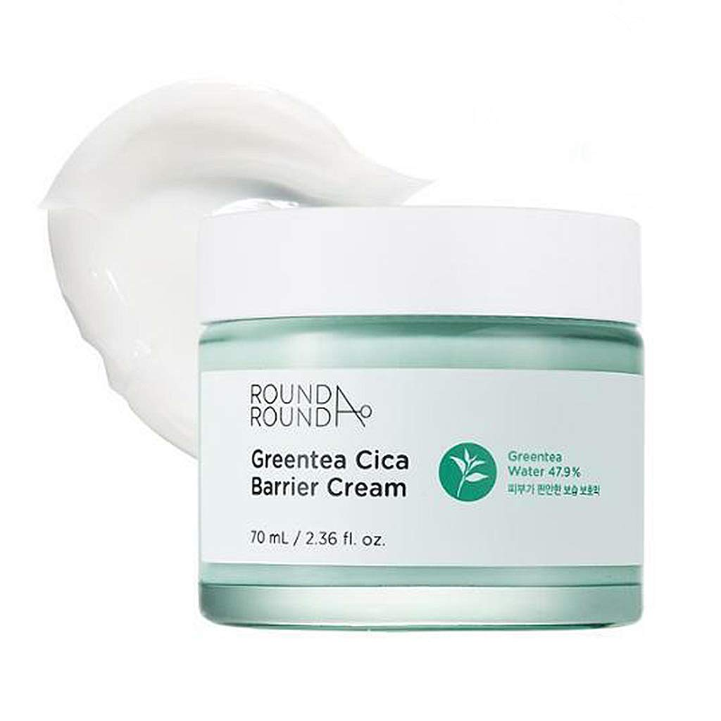 [ROUND A'ROUND] Green Tea Cica Barrier Cream 70ml - 50% Green Tea Water & Centella Asiatica Contained Skin Soothing Facial Cream, Fresh Lightweight Texture Moisturizing Cream for Sensitive Skin
