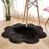 HUAHOO Faux Fur Sheepskin Rug Black Kids Carpet Soft Faux Sheepskin Chair Cover Home Décor Accent for a Kid's Room,Childrens Bedroom, Nursery, Living Room or Bath. 3' Round Plum Blossom