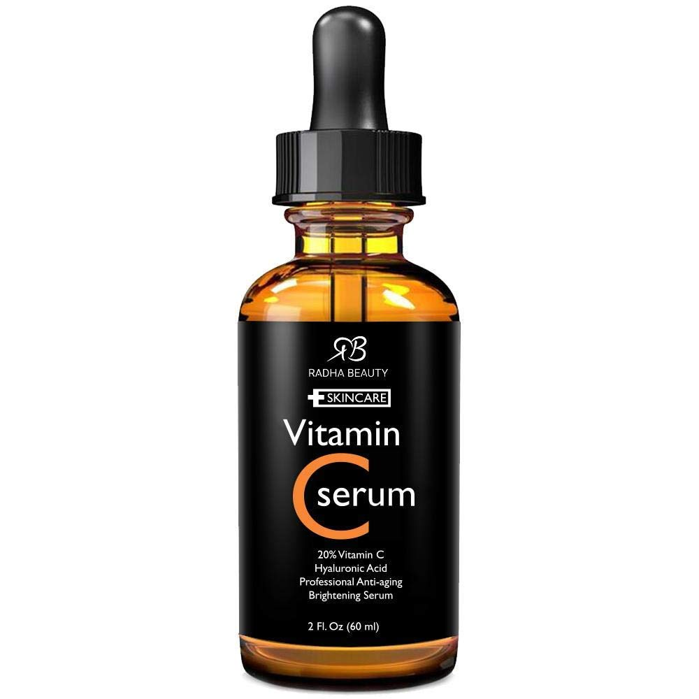 Radha Beauty Vitamin C Serum for Face, HUGE 2oz - 20% Organic Vitamin C + E + Hyaluronic Acid for Anti-Aging, Wrinkles, and Fine Lines - For Radiant and Healthy Skin