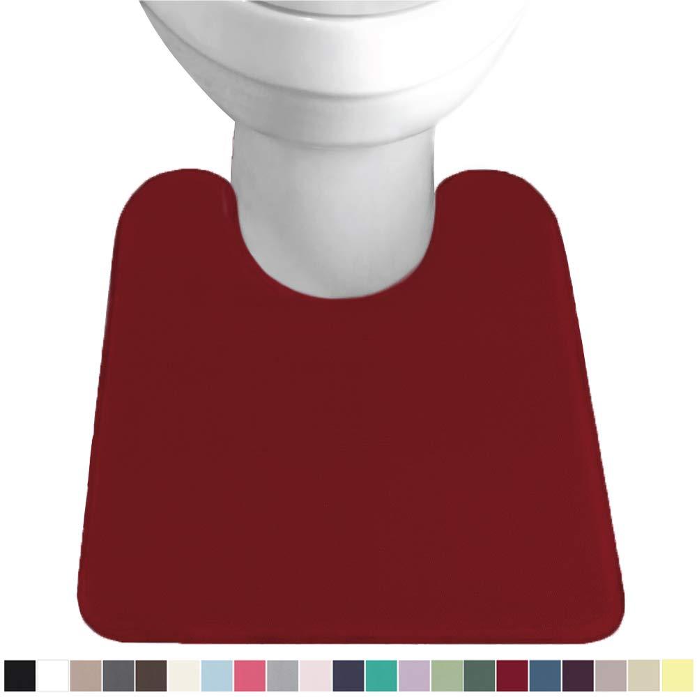 Gorilla Grip Original Thick Memory Foam Contour Toilet Bath Rug 22.5x19.5, U Shape, Cushioned, Soft Floor Mats, Absorbent Cozy Bathroom Rugs, Machine Wash and Dry, Plush Bath Room Carpet, Burgundy